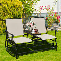 2 People Swing Glider Chair Outdoor Swing Lounge w/Center Tempered Glass Table