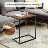 Sofa Side Table C-Shaped Industrial Coffee Snack Table Laptop Stand Over Bed End