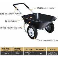 2-Wheeled Wheelbarrow Heavy Duty Garden Cart with 33cm Pneumatic Tires & Handlle