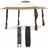 4 x 4m Pop up Outdoor Gazebo Large Patio Party Tent W/ 2-Tier Roof Adjustable