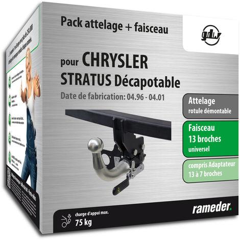 Attelage rotule démontable GDW pour Chrysler STRATUS Décapotable 04/96-04/01 + faisceau universel 13 broches + adaptateur