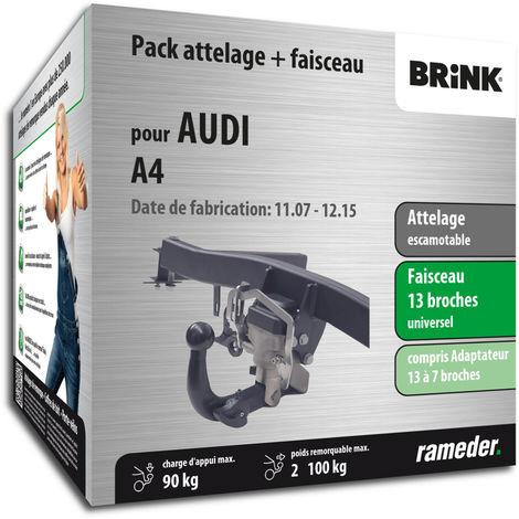 Attelage escamotable Rameder pour Audi A4 11/11-12/15 - faisceau universel 13 broches + adaptateur