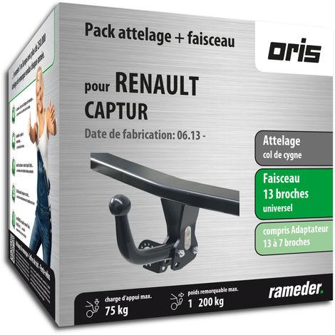 Attelage col de cygne Oris pour Renault CAPTUR 02/18-12/99 + faisceau universel 13 broches + adaptateur + boitier électronique
