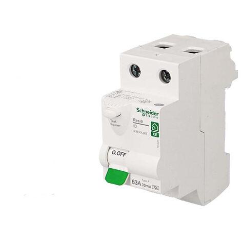 Interrupteur différentiel 2P 63A 30mA Type A Schneider Resi9 XE