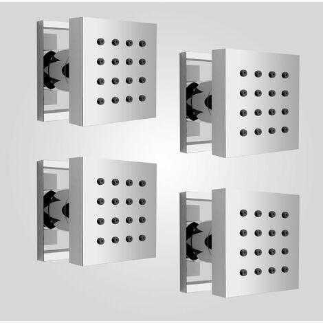 Set of Four Square Chrome Plated Brass Shower Bath Body Massage Jets
