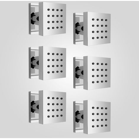 Set of Six Square Chrome Plated Brass Shower Bath Body Massage Jets