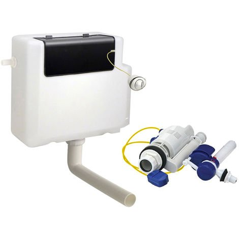 Concealed Toilet Cistern Dual Flush 6L Front Access Side Entry with Chrome Button