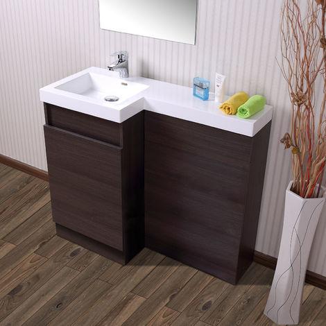 Oak Bathroom White Modern Basin Vanity Unit & Toilet Unit 1000 Left Hand