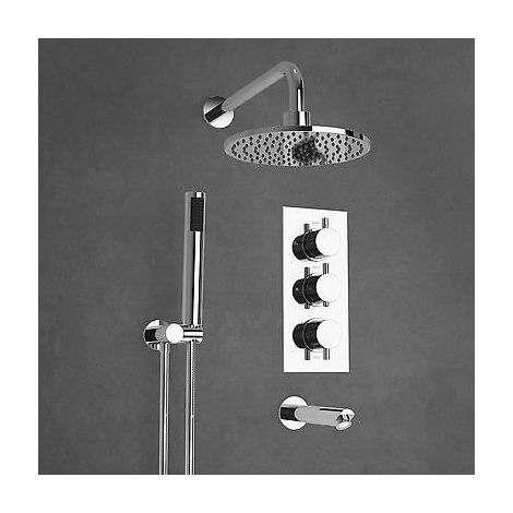 BATHROOM 3 DIAL 3 WAY CONCEALED ROUND THERMOSTATIC SHOWER MIXER VALVE CHROME
