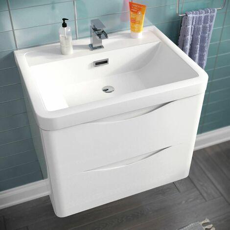 Lyndon 600mm Wall Hung Vanity Basin Unit White