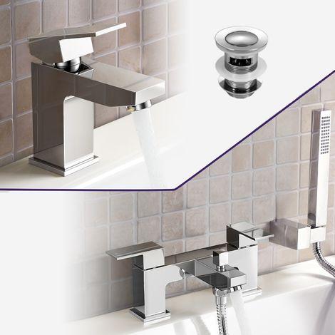 Aldo Bathroom Chrome Solid Brass Basin Mixer Tap & Bath Shower Mixer Tap + Waste