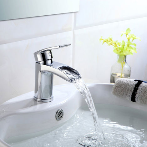 Virgo Waterfall Bathroom Tap Basin Mono Mixer Chrome Solid Brass with free Waste