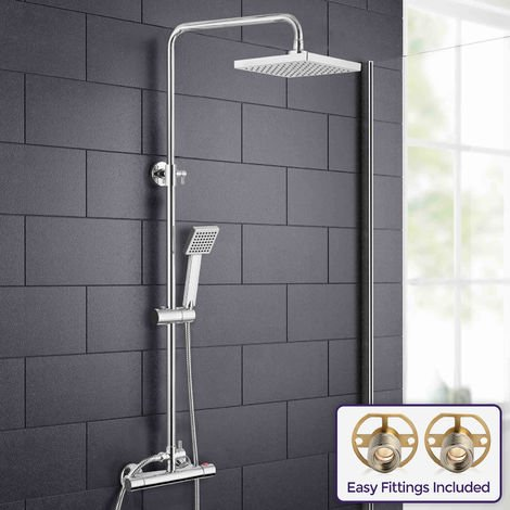 Rosa Square Modern Chrome Thermostatic Dual Control Riser Shower Slider Handset With Easy Fittings