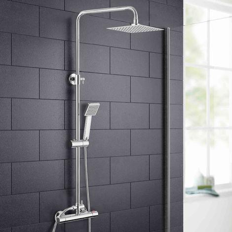 Rosa Thermostatic Slim Modern Shower Mixer Chrome Bathroom Square Head