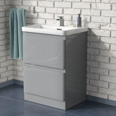Alaska 600mm Floorstanding Basin Vanity Unit Light Grey