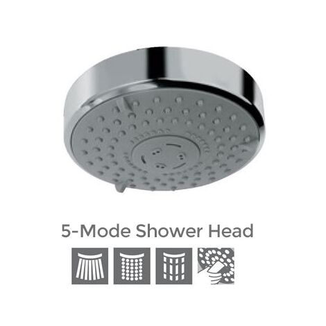 Bathroom Universal 5 Mode Function Modern Chrome Overhead Shower Head - 120mm