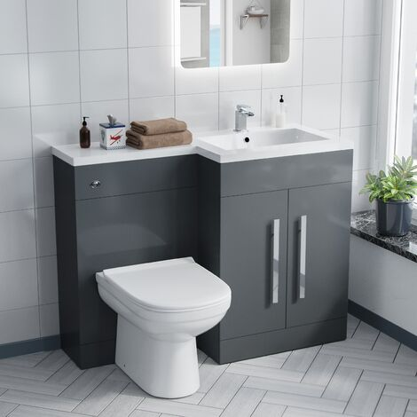 Alice Right Hand Grey Bathroom Basin Vanity Unit WC with Toilet