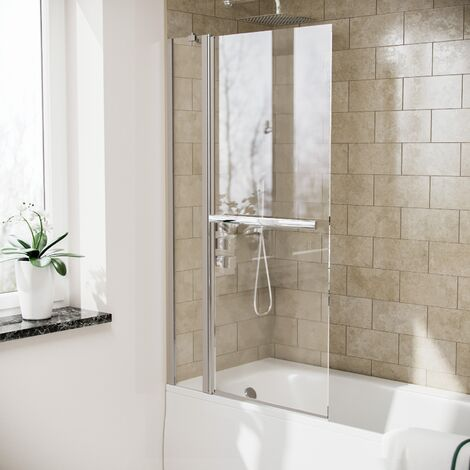 Athens Swing Glass Door Panel Shower Bath Screen with Towel Bar