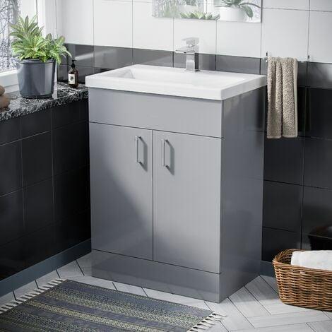 Nanuya Bathroom 600 Light Grey Basin Sink Vanity Unit