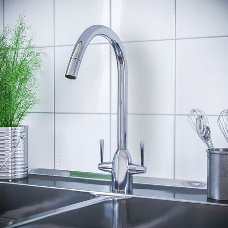 Beni Twin Lever Chrome Kitchen Sink Mixer Tap With Swivel Spout