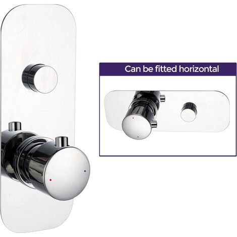 Concealed Thermostatic Mixer Shower Valve Round With 1 Outlet and 1 Knobs - Chrome