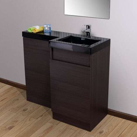 Oak Bathroom Black Basin Vanity Modern Unit & Toilet Unit 1000 Right Hand