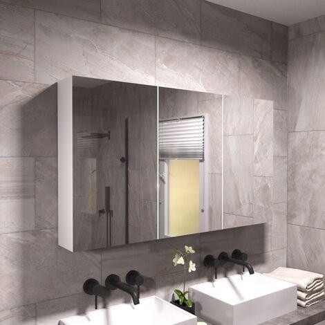 McCann 900mm Mirror 3 Door Shaving Cabinet White