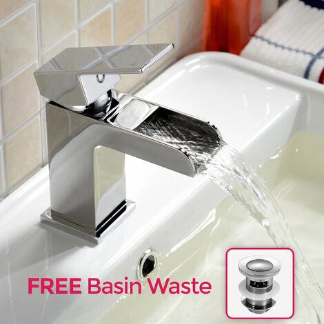 Ozone Waterfall Bathroom Basin Mixer Tap + Waste