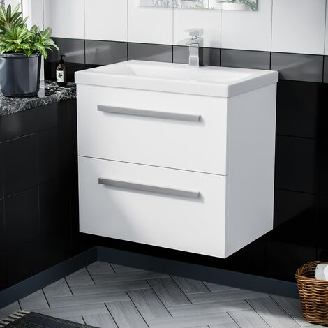 Wall Hung 600mm 2 Drawer Vanity Cabinet and Basin Gloss White