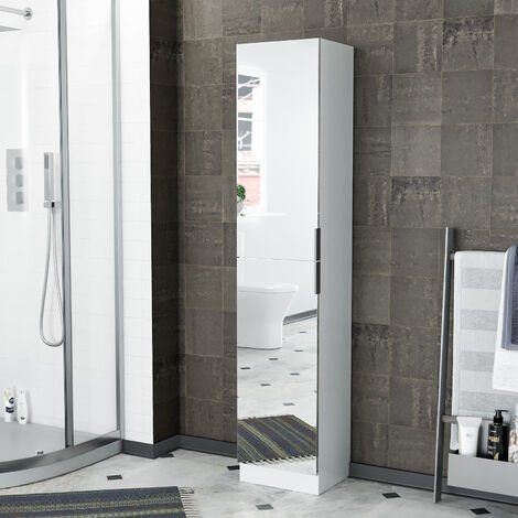 Freestanding White Tall Storage Unit With Mirrored Door - 1700x350x300mm