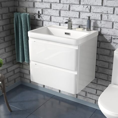 Alaska 600mm Wall Hung Basin Vanity Unit White