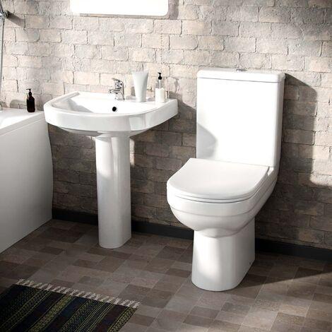CONTRACT 2 PIECE DUAL FLUSH TOILET WC PAN & FULL PEDESTAL BASIN BATHROOM SUITE