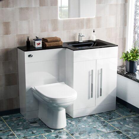 Aric RH 600mm Vanity Unit, Black Basin, WC Unit And BTW Toilet White