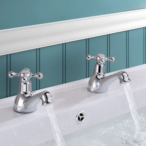 Stafford Classic Cross Head Basin Hot & Cold Tap Pair Solid Brass with Square Cap Waste