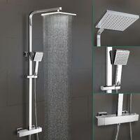 Lois Square Dual Head Thermostatic Shower Mixer Chrome Bathroom Exposed Valve