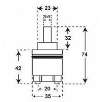 35mm Bathroom Waterfall Single Lever Basin Mono Ceramic Disc Tap Cartridge