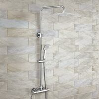 Rosa Dual Control Square Slim Head Thermostatic Shower Mixer & Easy Fitting Kit