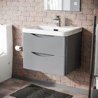 Lyndon 600mm Light Grey Gloss Bathroom Wall Hung Basin Vanity Unit
