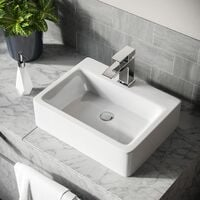 Leven 420 x 320mm Cloakroom Rectangle Counter Top Basin rounded Edges