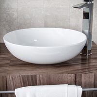 Etive 405mm Large Round Cloakroom Stand Alone Counter Top Basin Sink Bowl