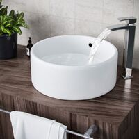 Etive 420mm Cloakroom Stand Alone Round Counter Top Basin Sink Bowl