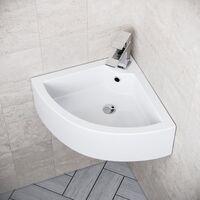 Tulla 670 x 470mm Cloakroom Large Quarter Circle Corner Wall Hung Basin Sink