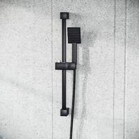 Square Shower Matte Black Handset and Hose with Slider Riser Rail Bracket