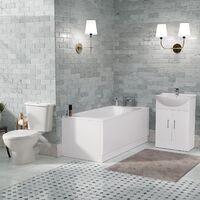 Senore 1700mm Straight Bath, Vanity Basin Unit & Close Coupled Toilet White