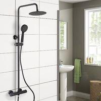 Regent Round Black Exposed Thermostatic Shower Mixer - Slider Rail Kit