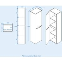 Lyndon 1500mm Modern White Gloss Bathroom Furniture Tall Storage Cabinet Unit
