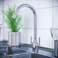 Beni Twin Lever Chrome Kitchen Sink Mixer Tap With Swivel Spout