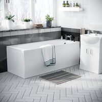 Ambon 1700mm Bath, Rimless Close Coupled Toilet & Vanity Basin Unit White