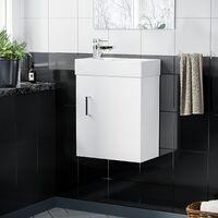 Nanuya 400mm Cloakroom Wall Hung Basin Vanity Unit, Mixer Tap & Waste White