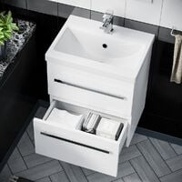 Nanuya 500mm Wall Hung 2 Drawer Vanity Basin Unit White